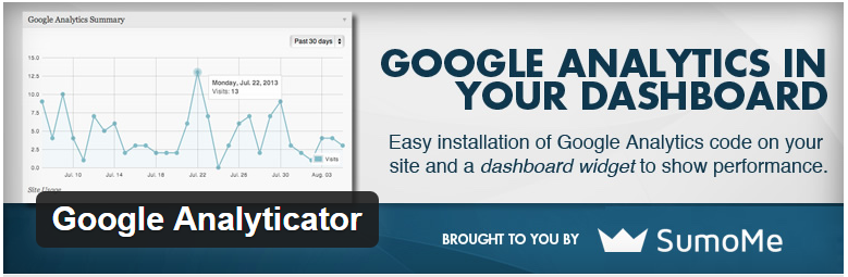 google analyticator in your dashboard