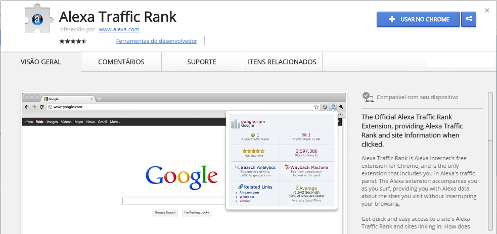 Alexa Traffic Rank Chrome Web Store