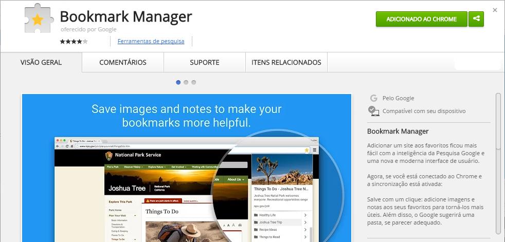 Bookmark Manager Chrome Web Store chrome extensões