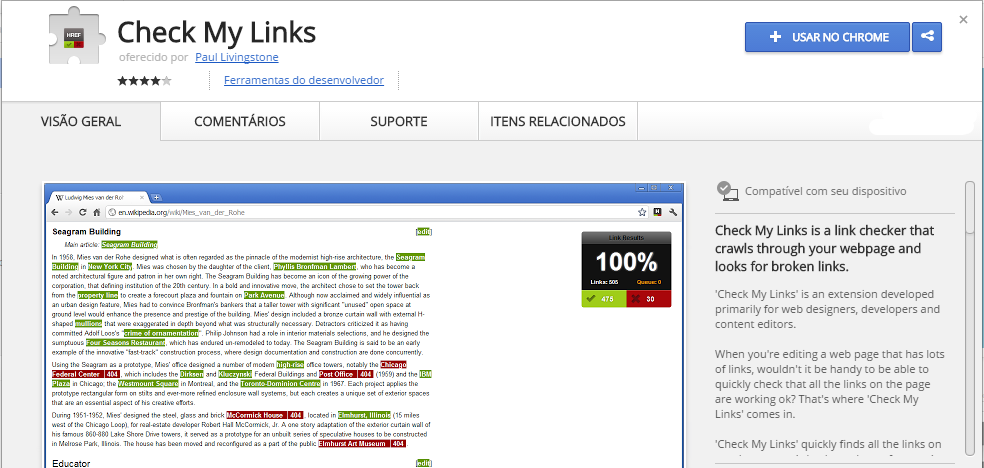 Check My Links Chrome Web Store extensão chrome