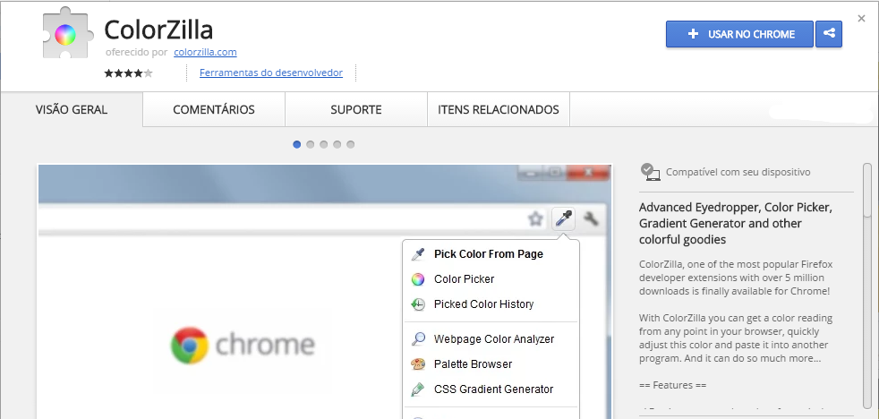 ColorZilla Chrome Web Store extensão chrome
