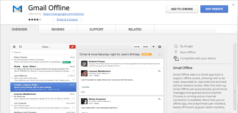 Gmail Offline Chrome Web Store chrome google