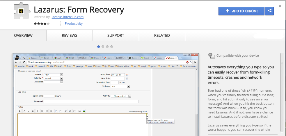 Lazarus Form Recovery Chrome Web Store chrome google