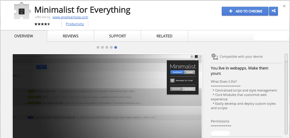 Minimalist for Everything Chrome Web Store extensão chrome