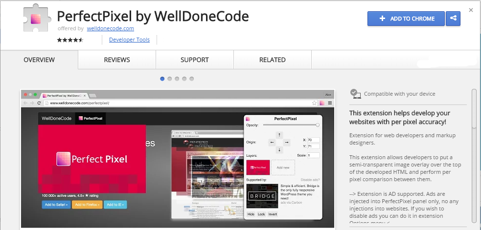 PerfectPixel by WellDoneCode Chrome Web Store extensão chrome