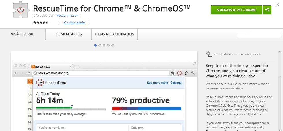 RescueTime for Chrome™ ChromeOS™ Chrome Web Store