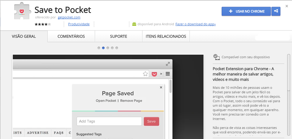 Save to Pocket Chrome Web Store extensão chrome