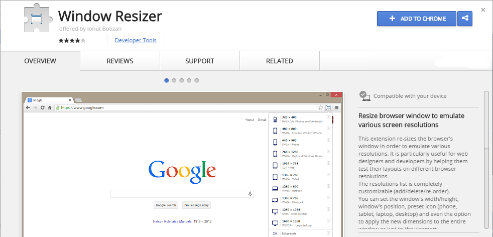 Window Resizer Chrome Web Store extensão chrome