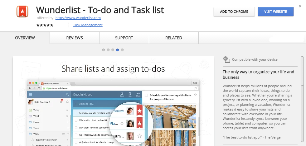 Wunderlist To do and Task list Chrome Web Store extensão chrome