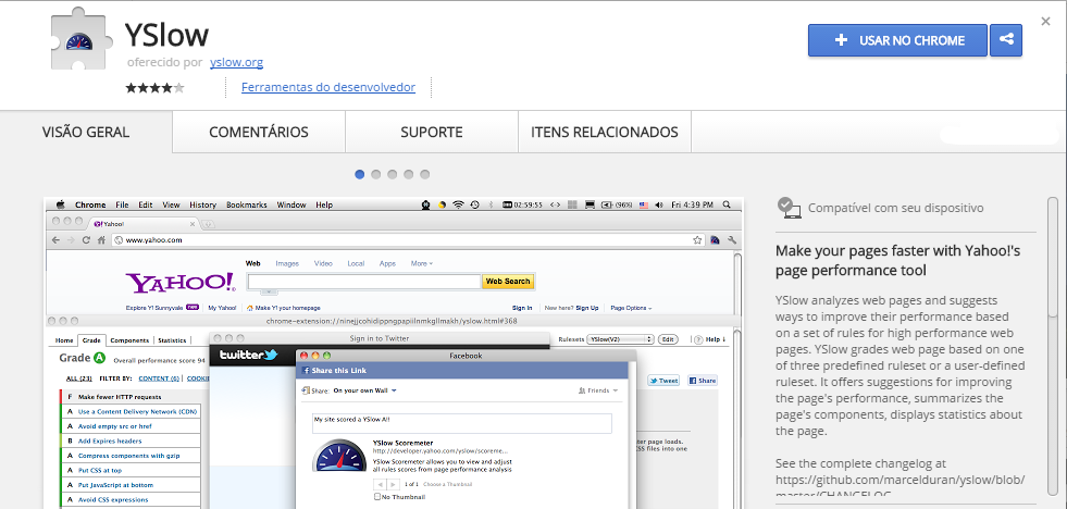 YSlow Chrome Web Store extensão chrome