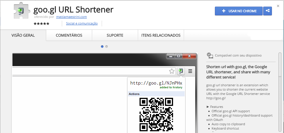 goo.gl URL Shortener Chrome Web Store