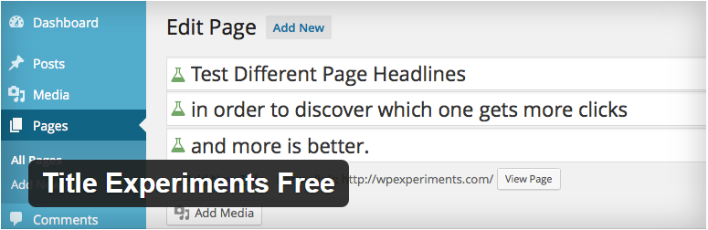 Title Experiments Free WordPress Plugins ferramentas de testes