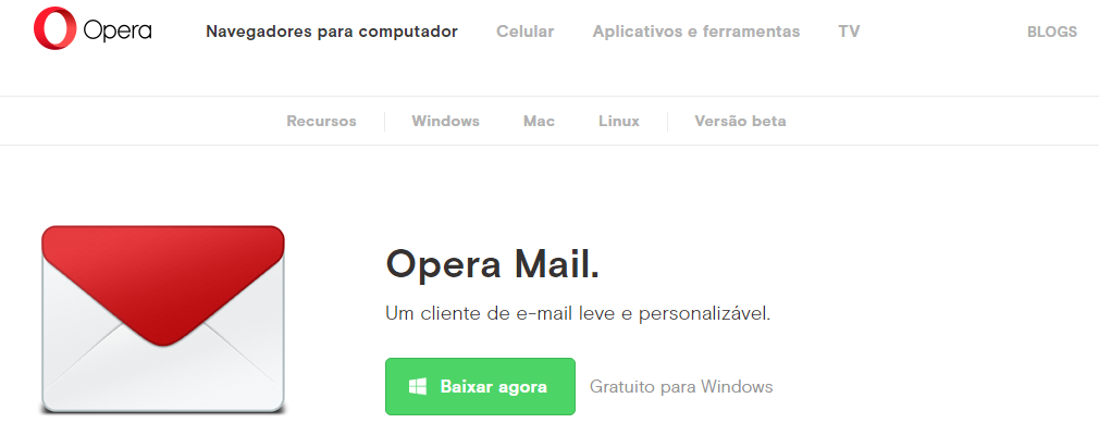 faca o download do opera mail opera gerenciamento de emails