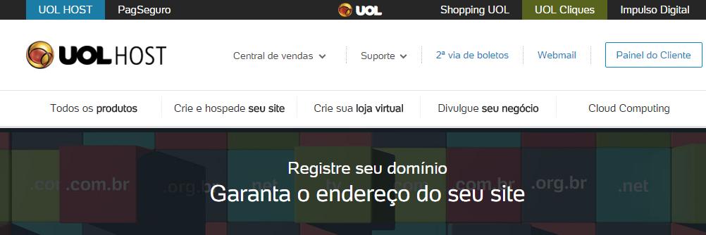 Registro de Domínio UOL HOST Registre domínios .com .com.br .net dominios de internet