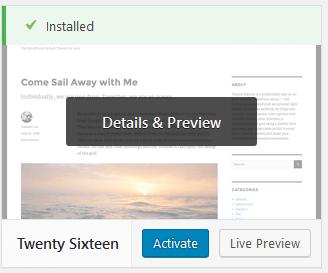 ativando um tema no wordpress