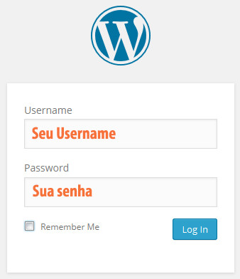 painel admin wordpress login blog