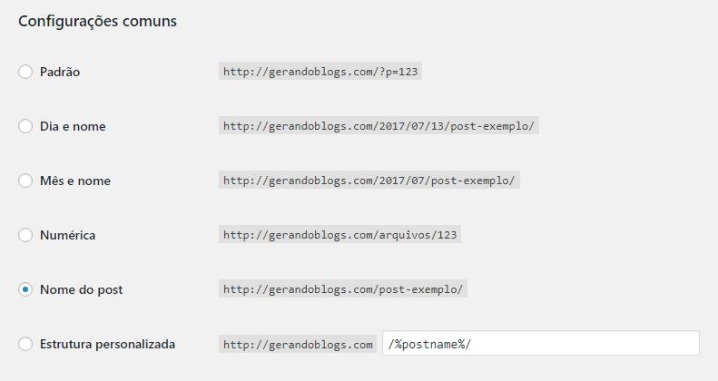 Configurações de links permanentes url seo amigável