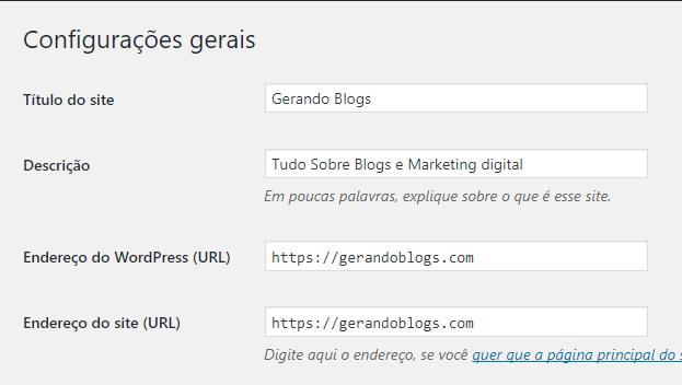 Configurações gerais SSL no WordPress