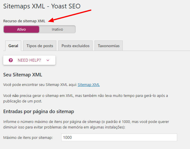 Sitemaps XML Yoast SEO ‹ Gerando Blogs WordPress
