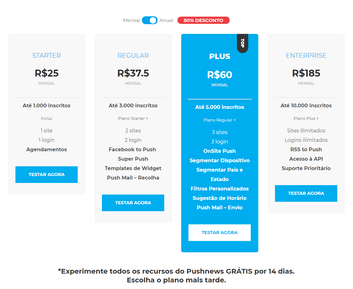 PushNews Melhores Preços de Push Notifications e Email Marketing