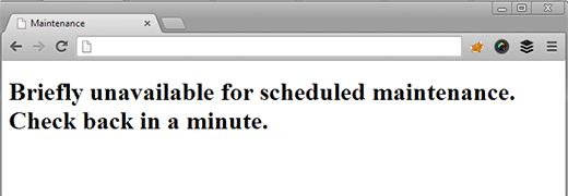 problema brevemente indisponível para manutenção agendada no WordPress blogs