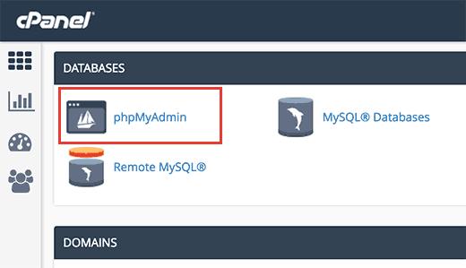 cpanel phpmyadmin wordpress